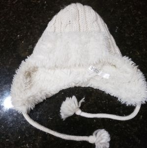 Aero White Winter Knit Hat Fleece inside Ear Flaps